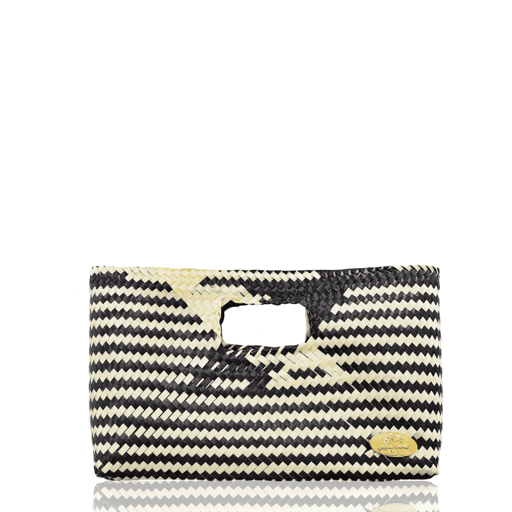 Alison Woven Clutch in Black and Ivory
