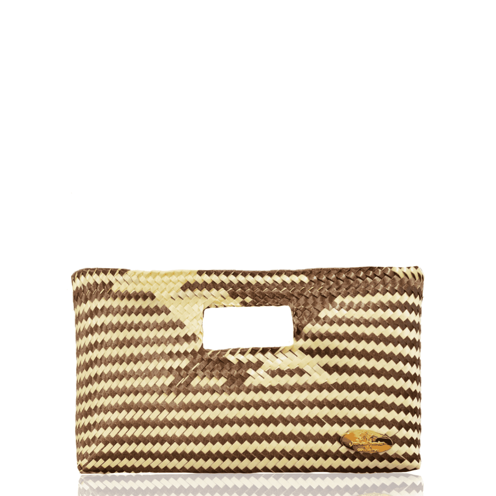 Alison Woven Clutch in Coffee with Cream