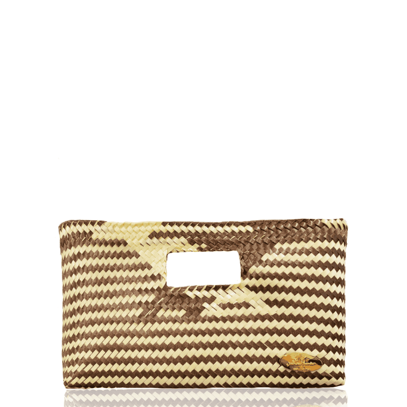 Alison Woven Clutch in Coffee with Cream - Josephine Alexander Collective