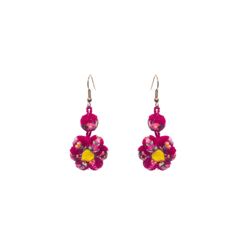 Mini Flower Earrings in Cranberry Confetti - Josephine Alexander Collective