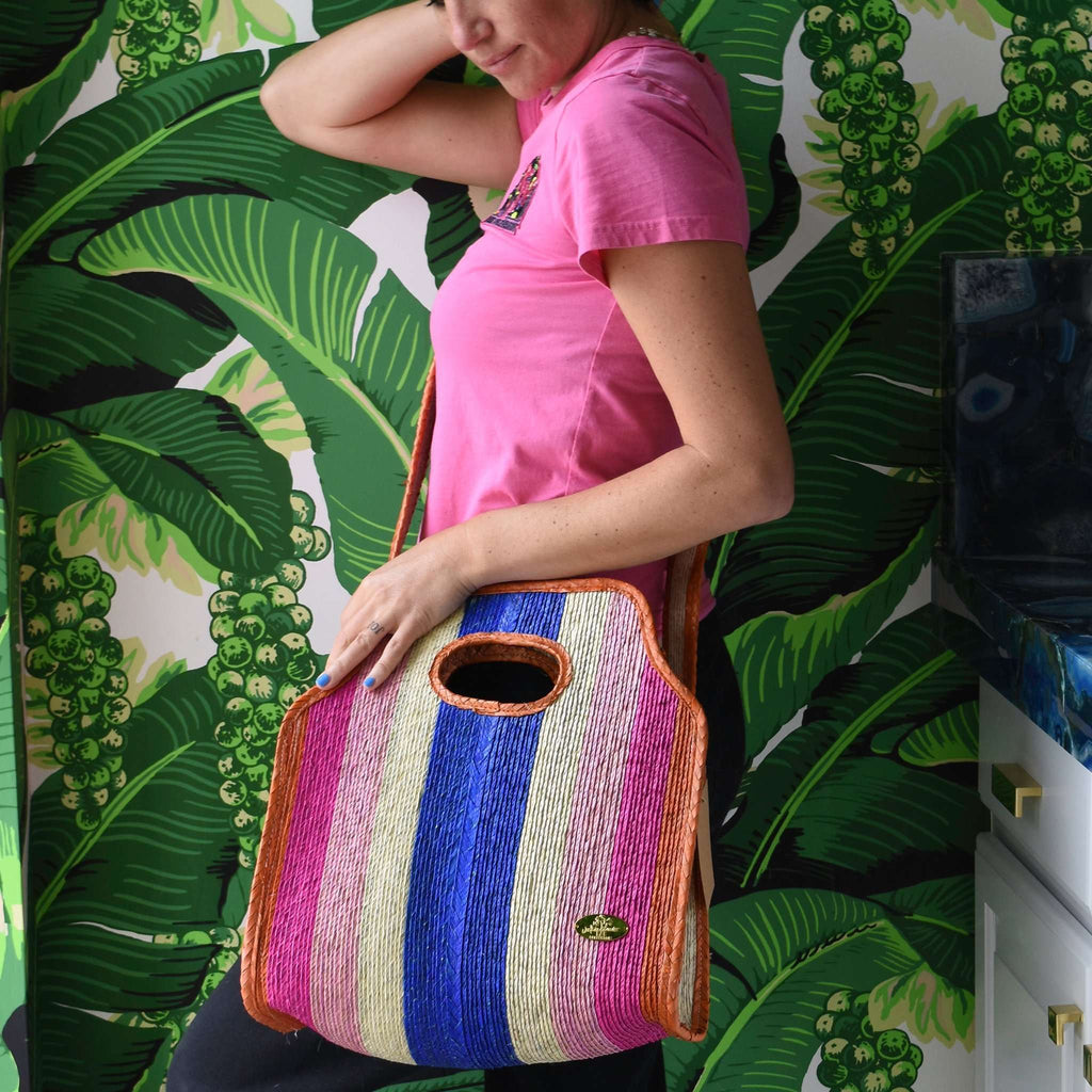 Cancun Straw Crossbody in Lollipop - Josephine Alexander Collective