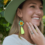 Dancing Flower Tassel Earrings in Sunset - Josephine Alexander Collective