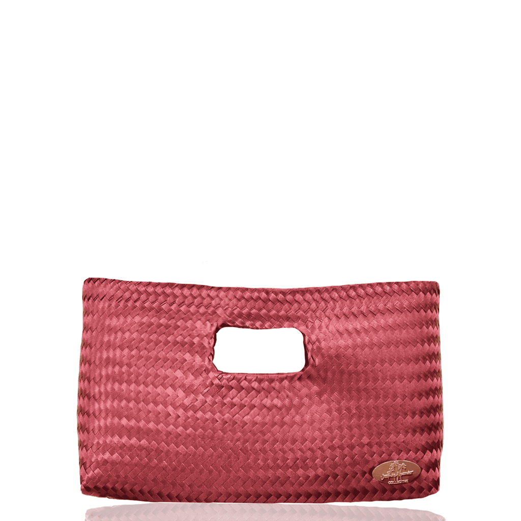 Alison Woven Clutch in Dark Red