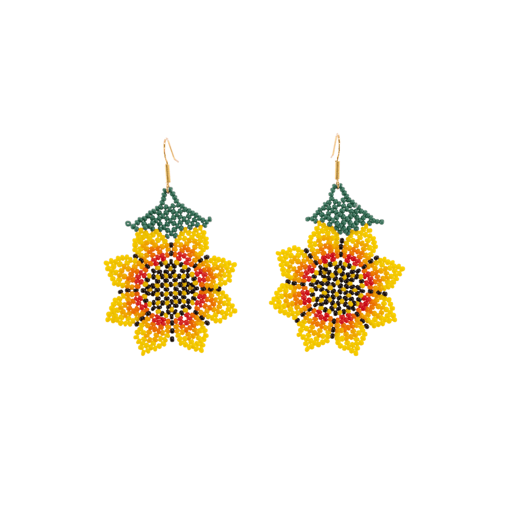Hanging Sunflower Earrings in Yellow - Josephine Alexander Collective