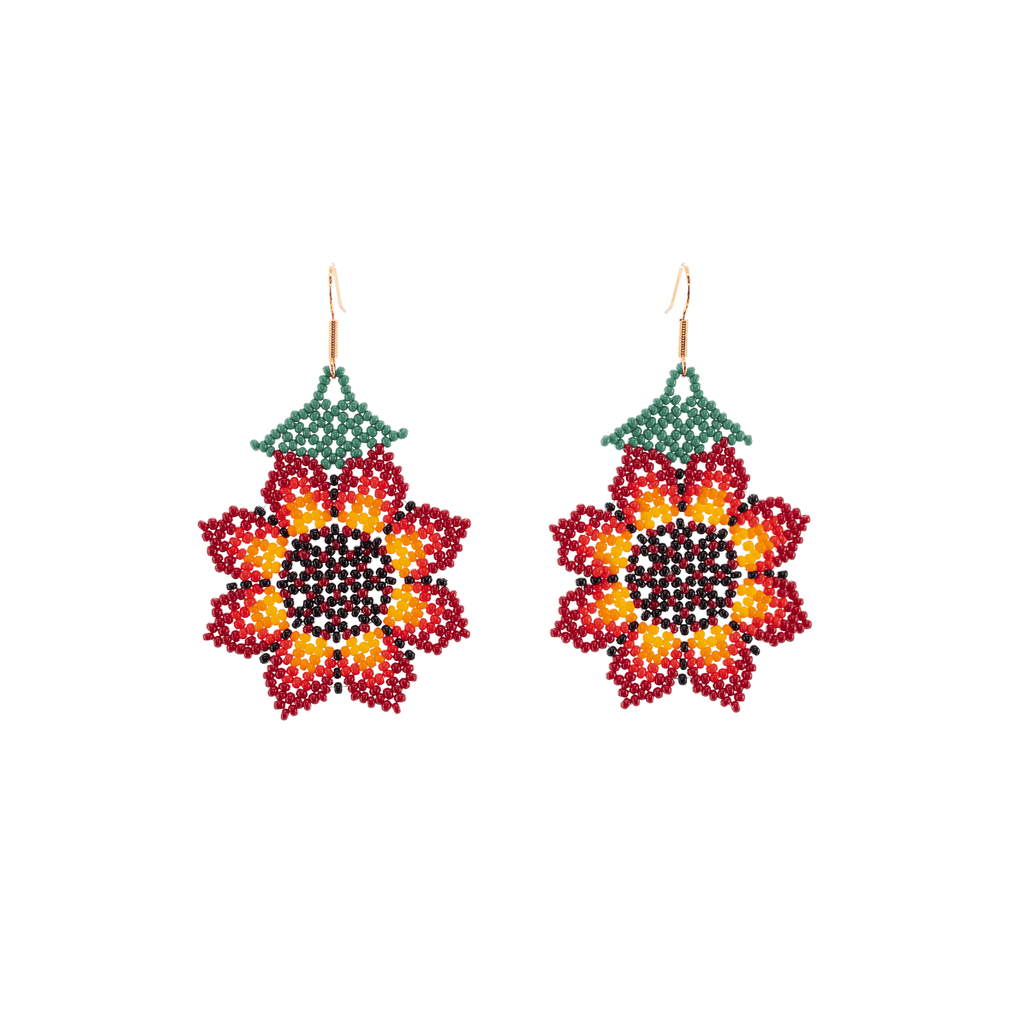 Hanging Sunflower Earrings in Red - Josephine Alexander Collective