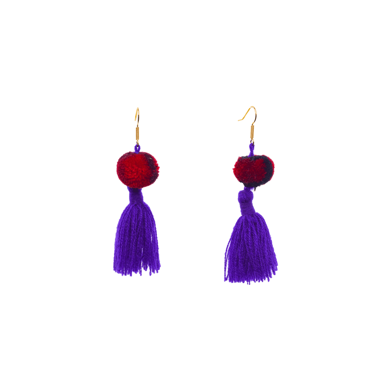 Feli Earrings in Purple Tie Dye Red Black - Josephine Alexander Collective