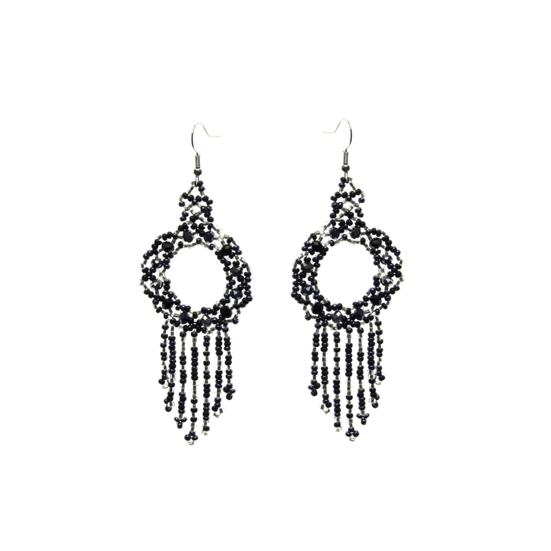Dreamer Earrings in Black and Silver - Josephine Alexander Collective