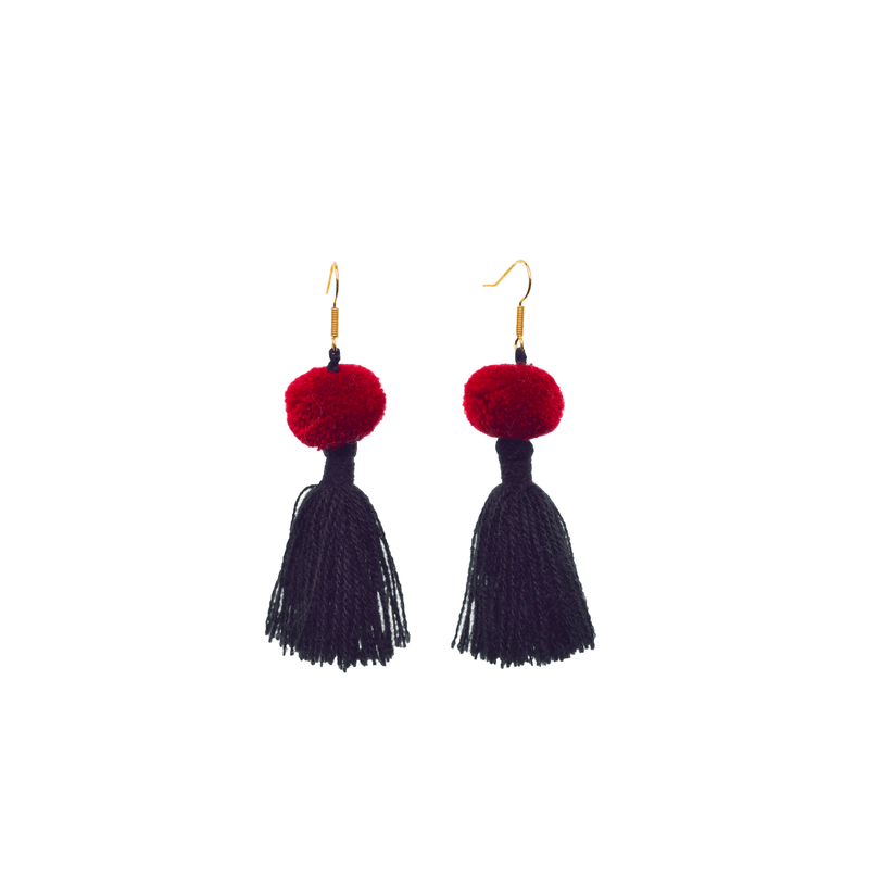 Feli Earrings in Black and Red - Josephine Alexander Collective