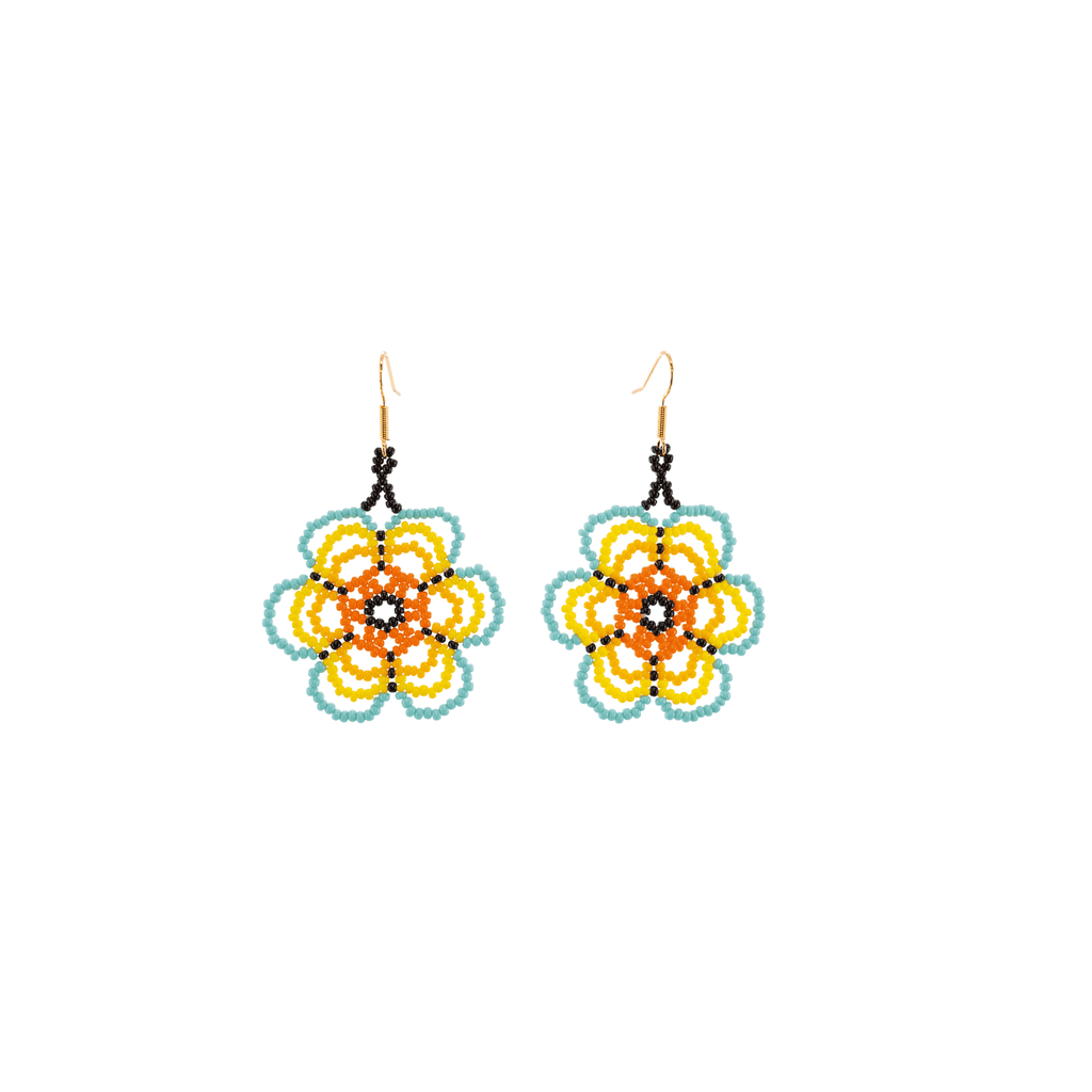 Flower Child Beaded Earrings in Sunny Skies - Josephine Alexander Collective