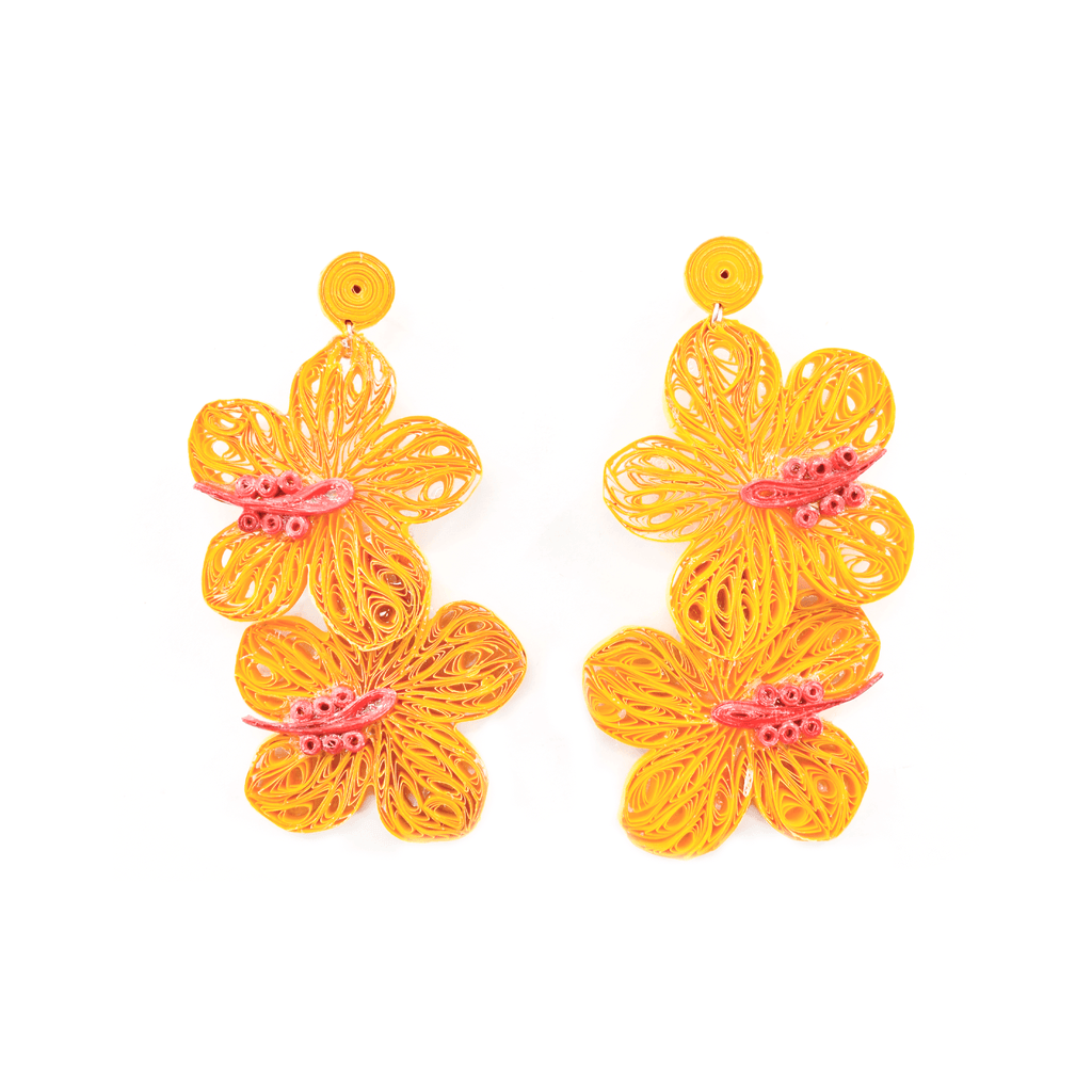 Double Aloha Earrings in Yellow - Josephine Alexander Collective
