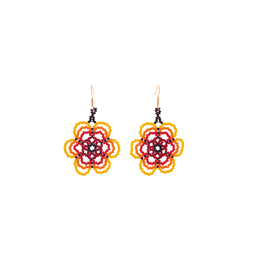 Flower Child Beaded Earrings in Blood Orange - Josephine Alexander Collective