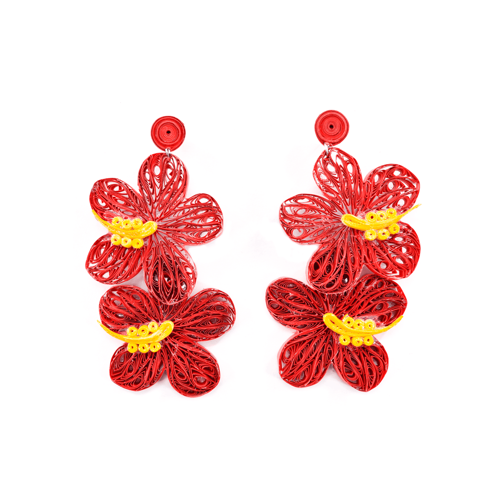 Double Aloha Earrings in Red