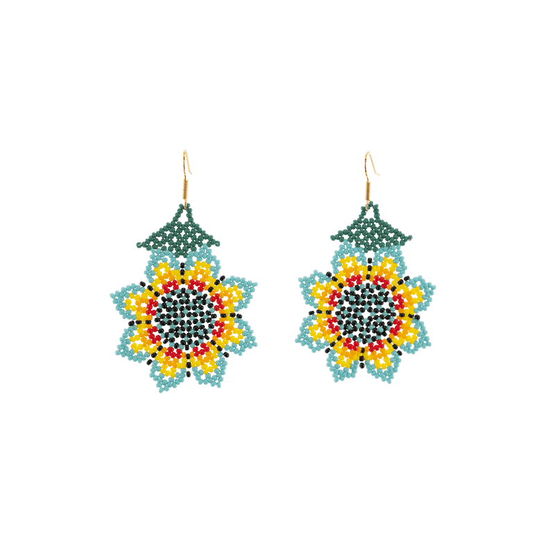 Hanging Sunflower Earrings in Blue and Yellow - Josephine Alexander Collective