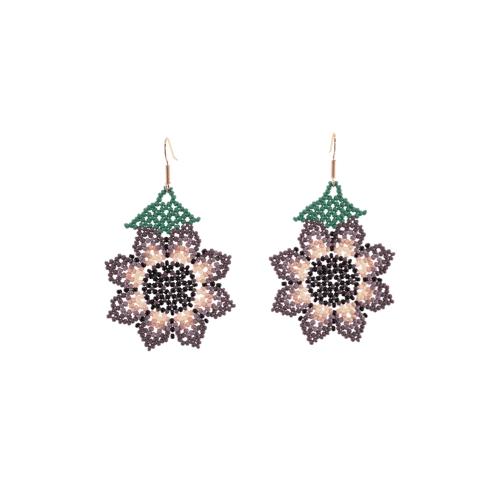 Hanging Sunflower Earrings in Lilac - Josephine Alexander Collective