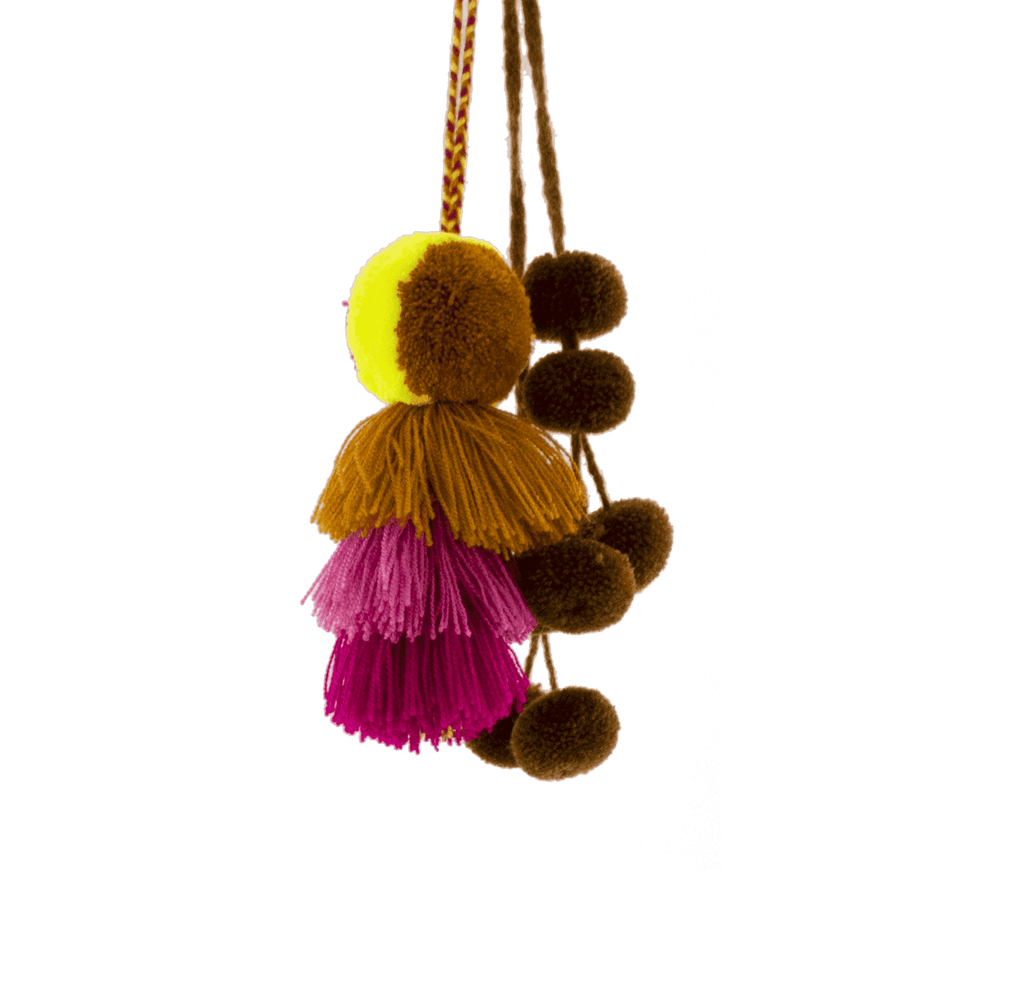 Carnaval Poms -  Brown, Pink and Neon Yellow - Josephine Alexander Collective
