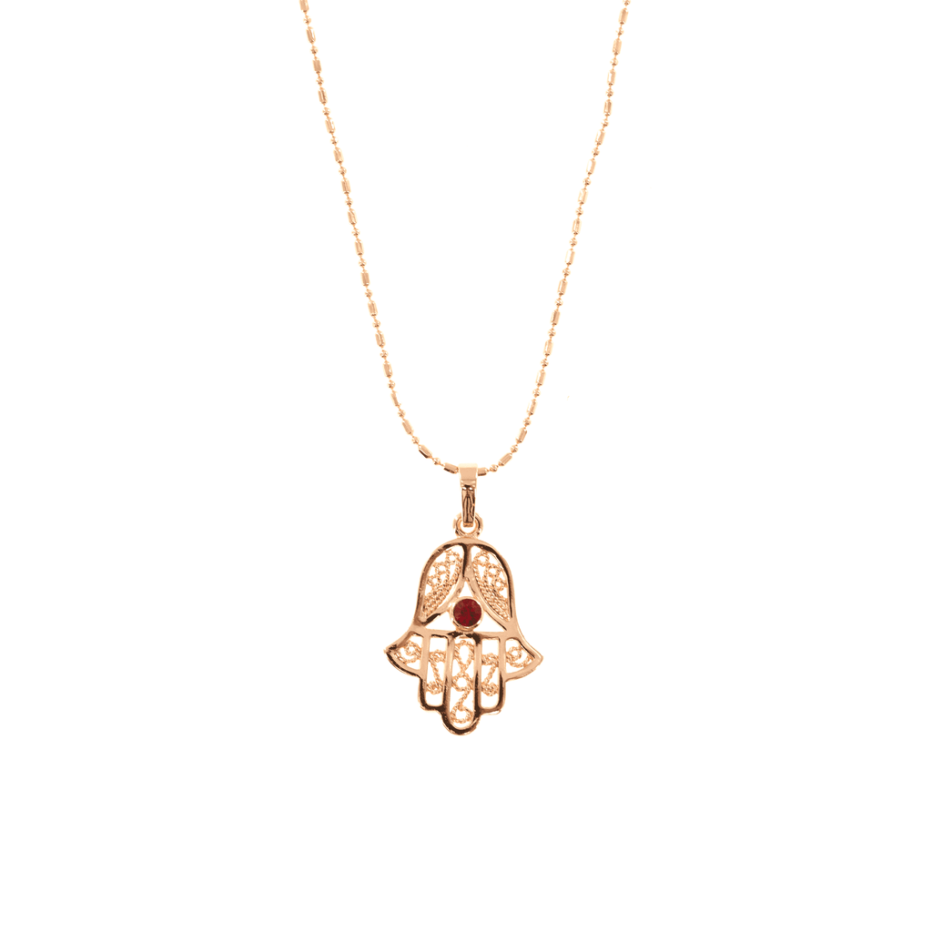 Gold Protection Hamsa Gem Necklace - Josephine Alexander Collective