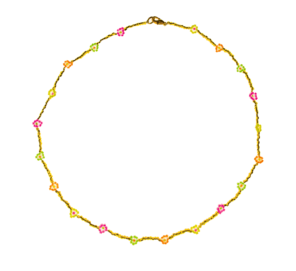Beaded Daisy Necklace in Gold and Rainbow - Josephine Alexander Collective