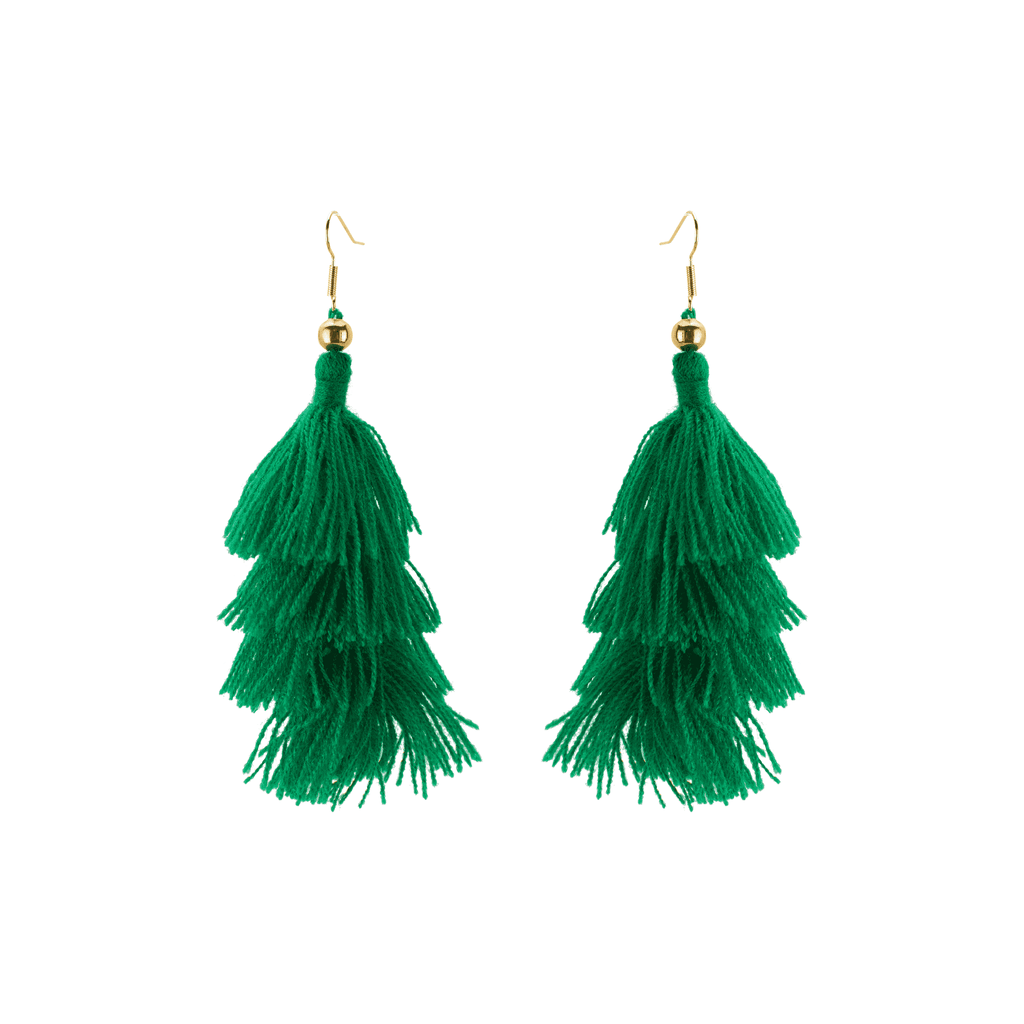Four Tier Earrings in Green