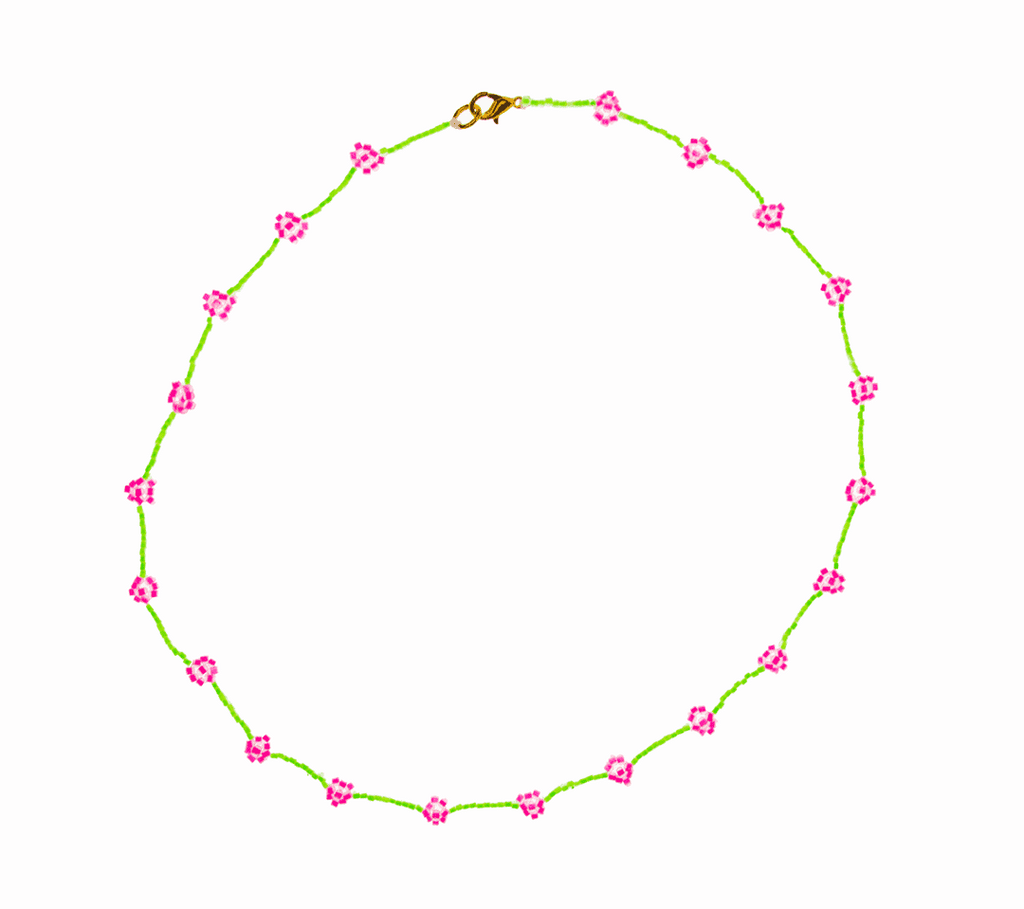 Beaded Daisy Necklace in Neon Green and Pink - Josephine Alexander Collective