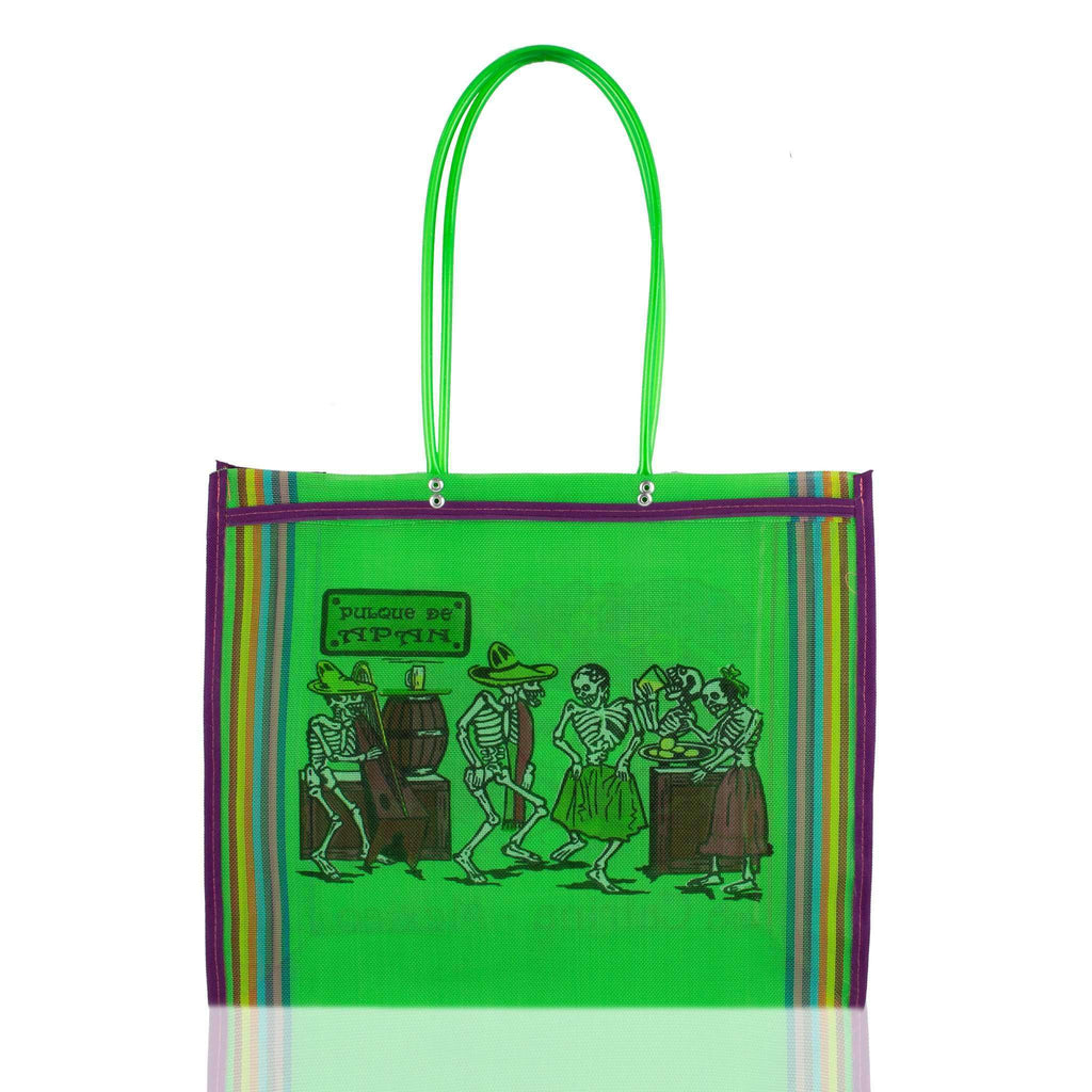 Dia de Muertos Market Bag in Green