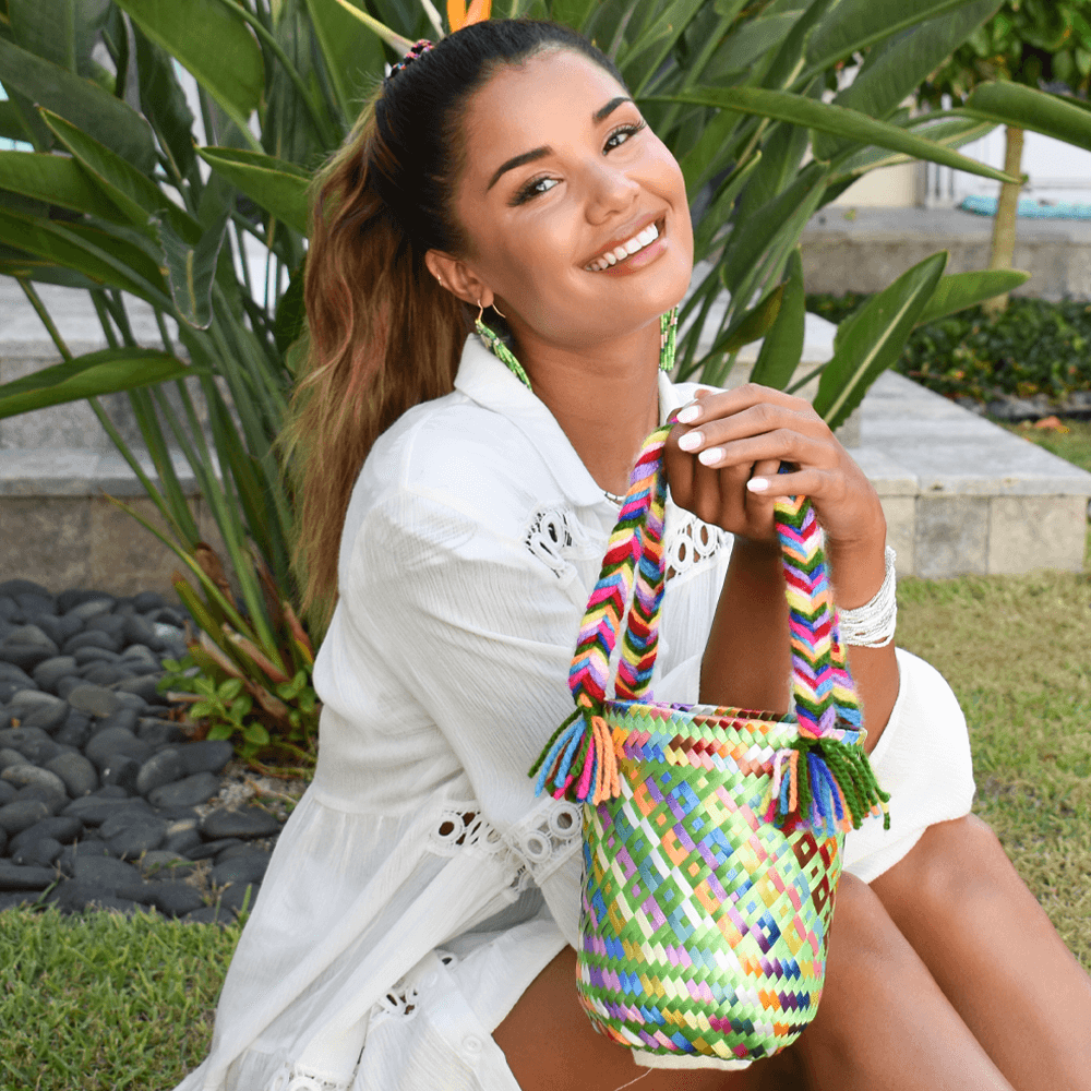 Mini Rainbow Bucket Bag in Green - Josephine Alexander Collective