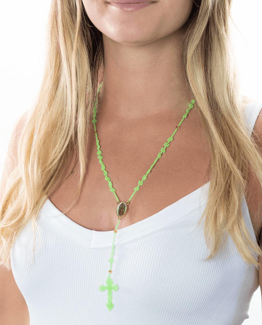 Thalia Beaded Rosary in Neon Green - Josephine Alexander Collective