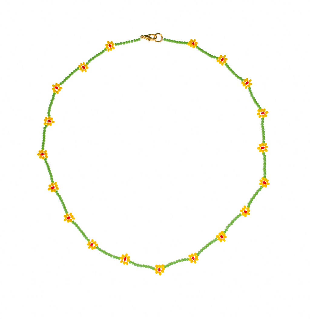 Beaded Daisy Necklace in Green and Yellow - Josephine Alexander Collective