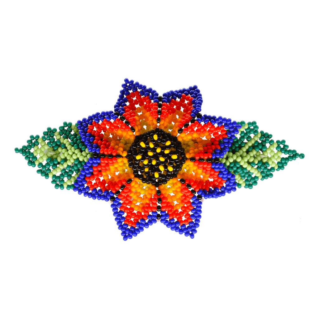 Beaded Barrette in Blue and Red Sunflower