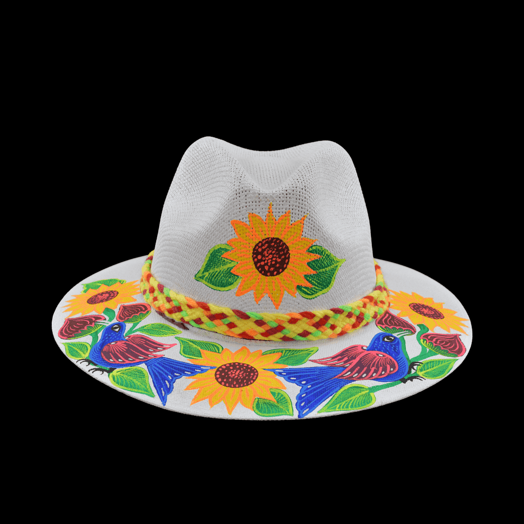 Hand-painted Hat in White with Sunflowers and Bluebird - Josephine Alexander Collective