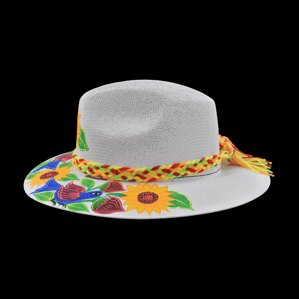 Hand-painted Hat in White with Sunflowers