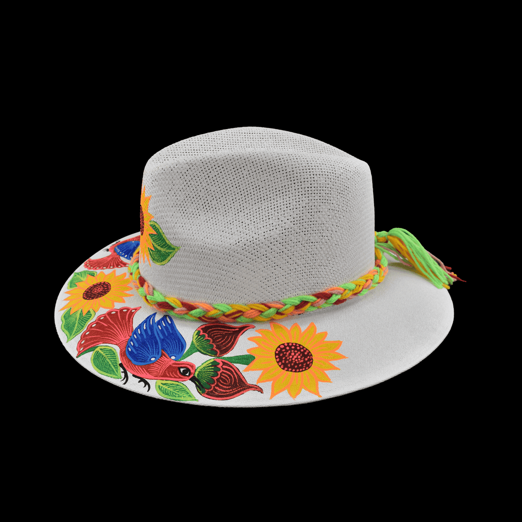Hand-painted Hat in White with Sunflowers and Pink Bird - Josephine Alexander Collective
