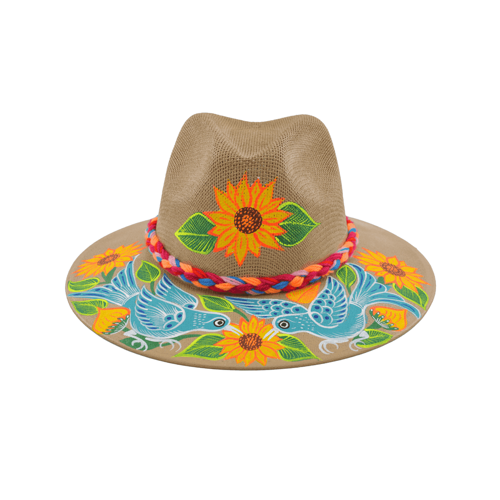 Hand-painted Hat in Tan with Sunflower - Josephine Alexander Collective