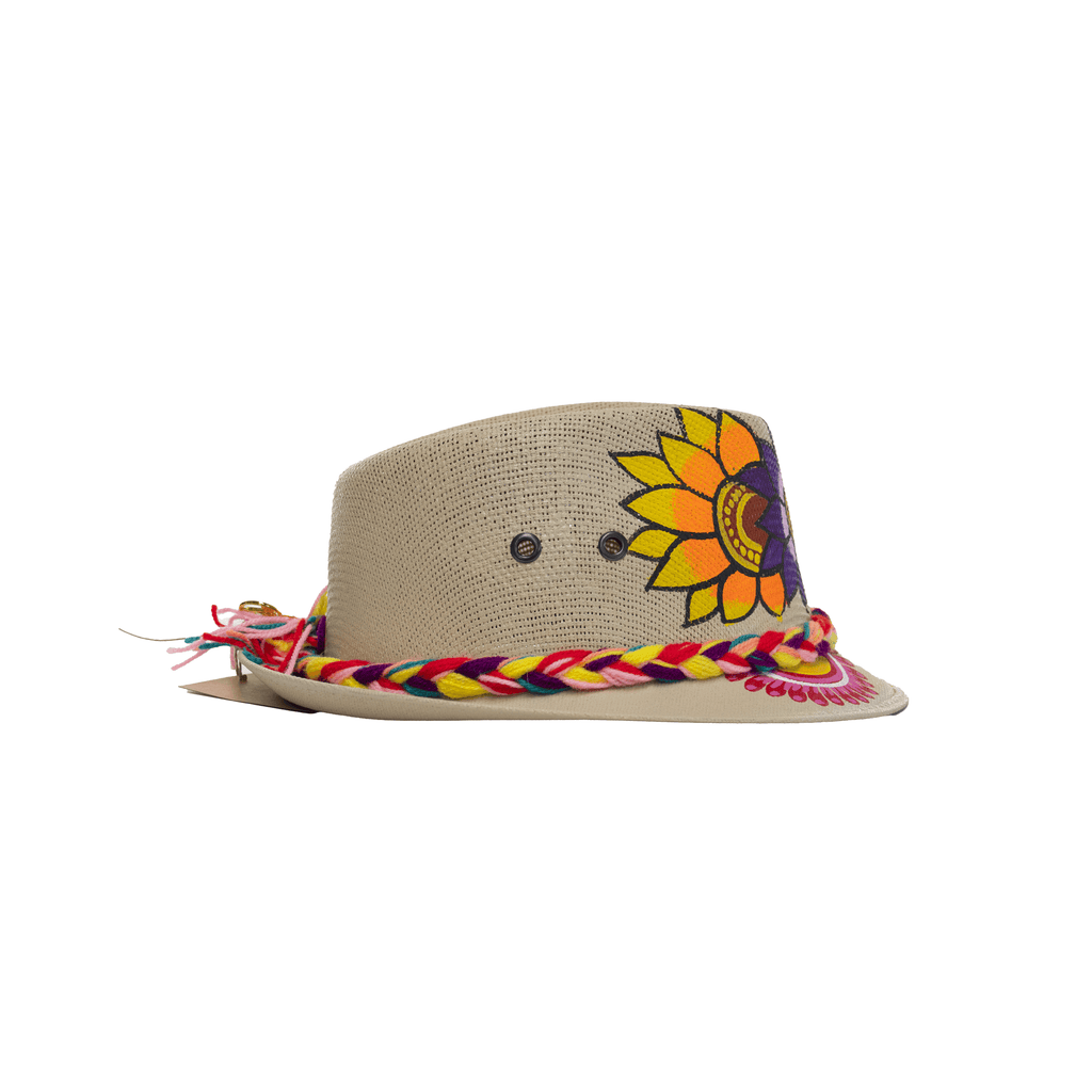 Hand-painted Fedora - Purple Flowers - Josephine Alexander Collective