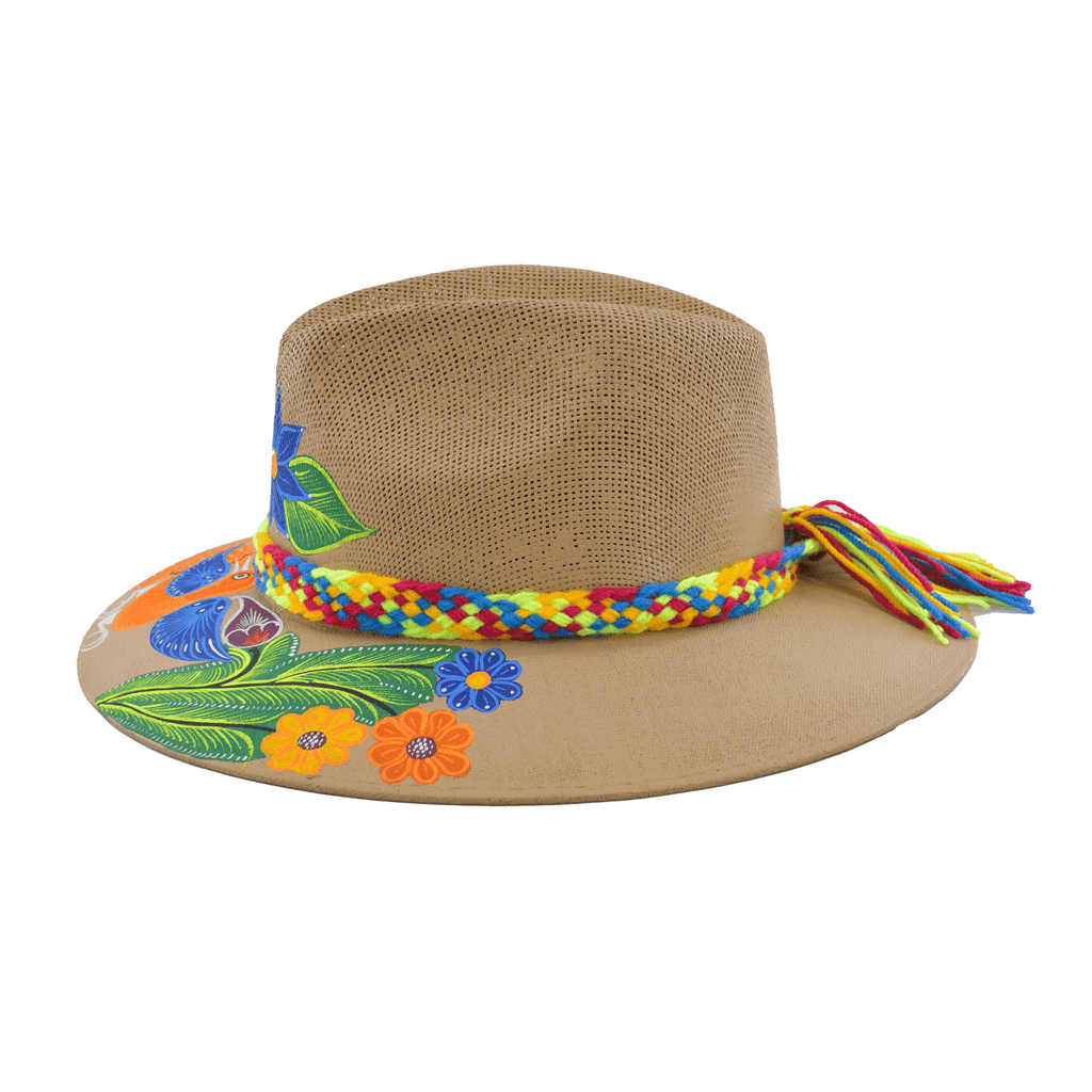 Hand-painted Hat in Tan with Orange Bird
