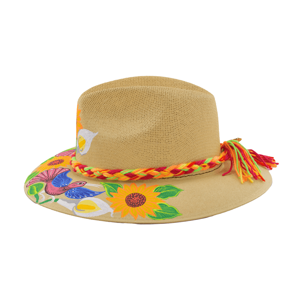 Hand-painted Hat in Light Tan with Sunflowers