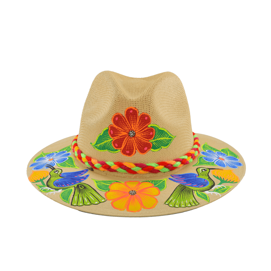 Hand-painted Hat in Light Tan with Red Flower