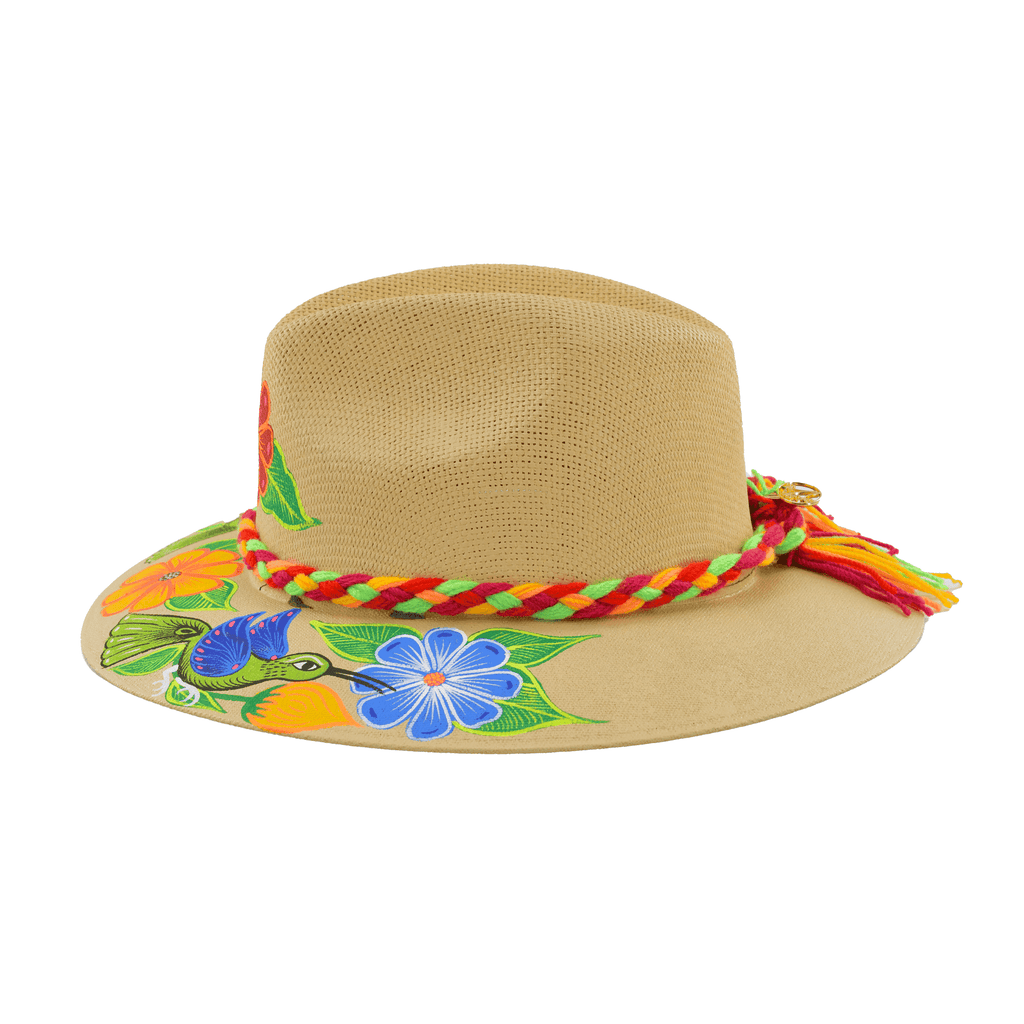 Hand-painted Hat in Light Tan with Red Flower - Josephine Alexander Collective