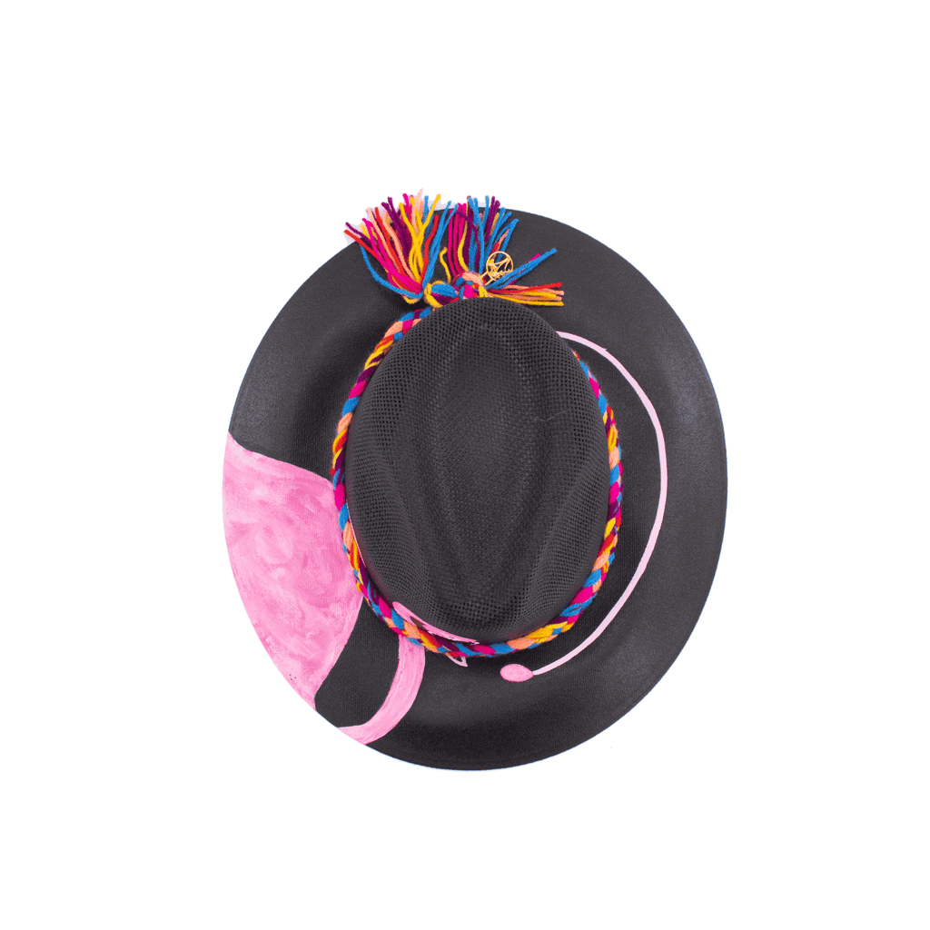 Hand-painted Hat in Black Flamingo - Josephine Alexander Collective