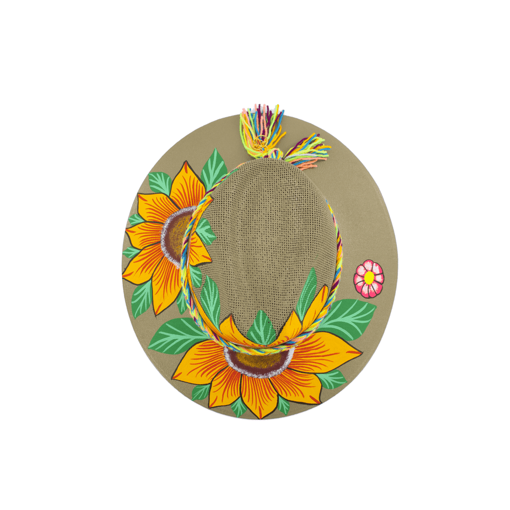 Carmen Hand-painted Hat - Olive Sunflowers - Josephine Alexander Collective