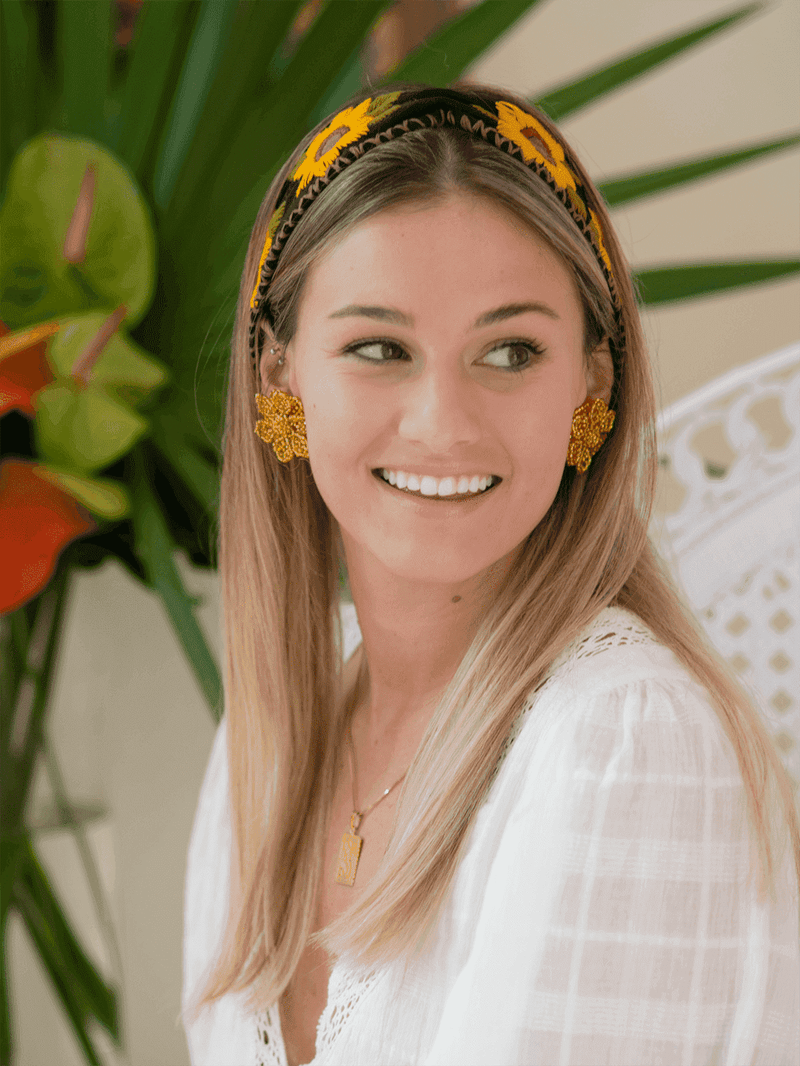 Cinched Headband in Yellow Flowers - Josephine Alexander Collective