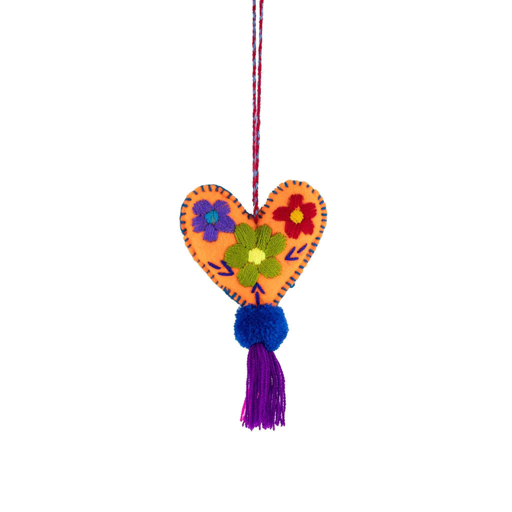 Martha Heart Tassel in Orange Flowers - Josephine Alexander Collective