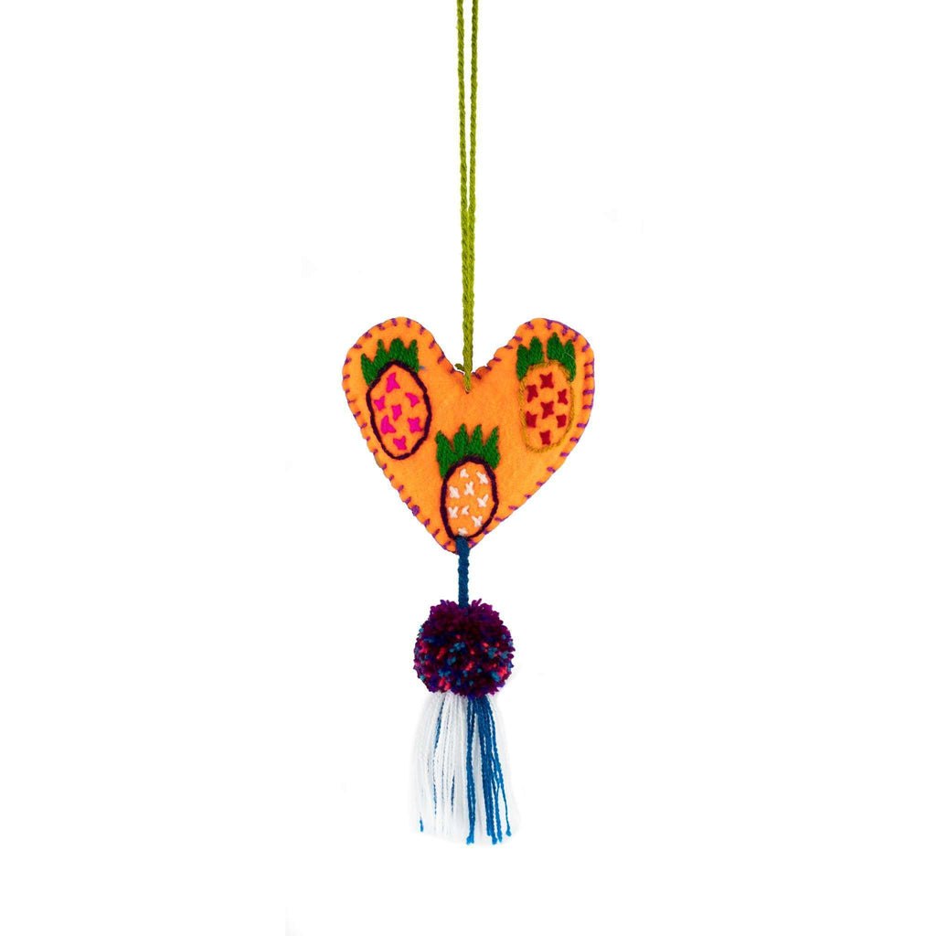 Martha Heart Tassel in Orange Pineapple - Josephine Alexander Collective