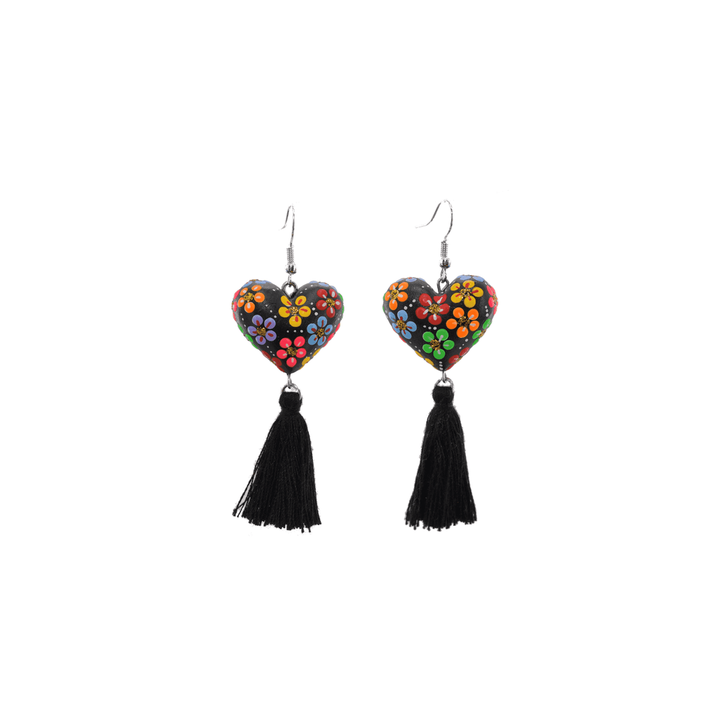 Heart to Heart Earrings in Black Rainbow - Josephine Alexander Collective
