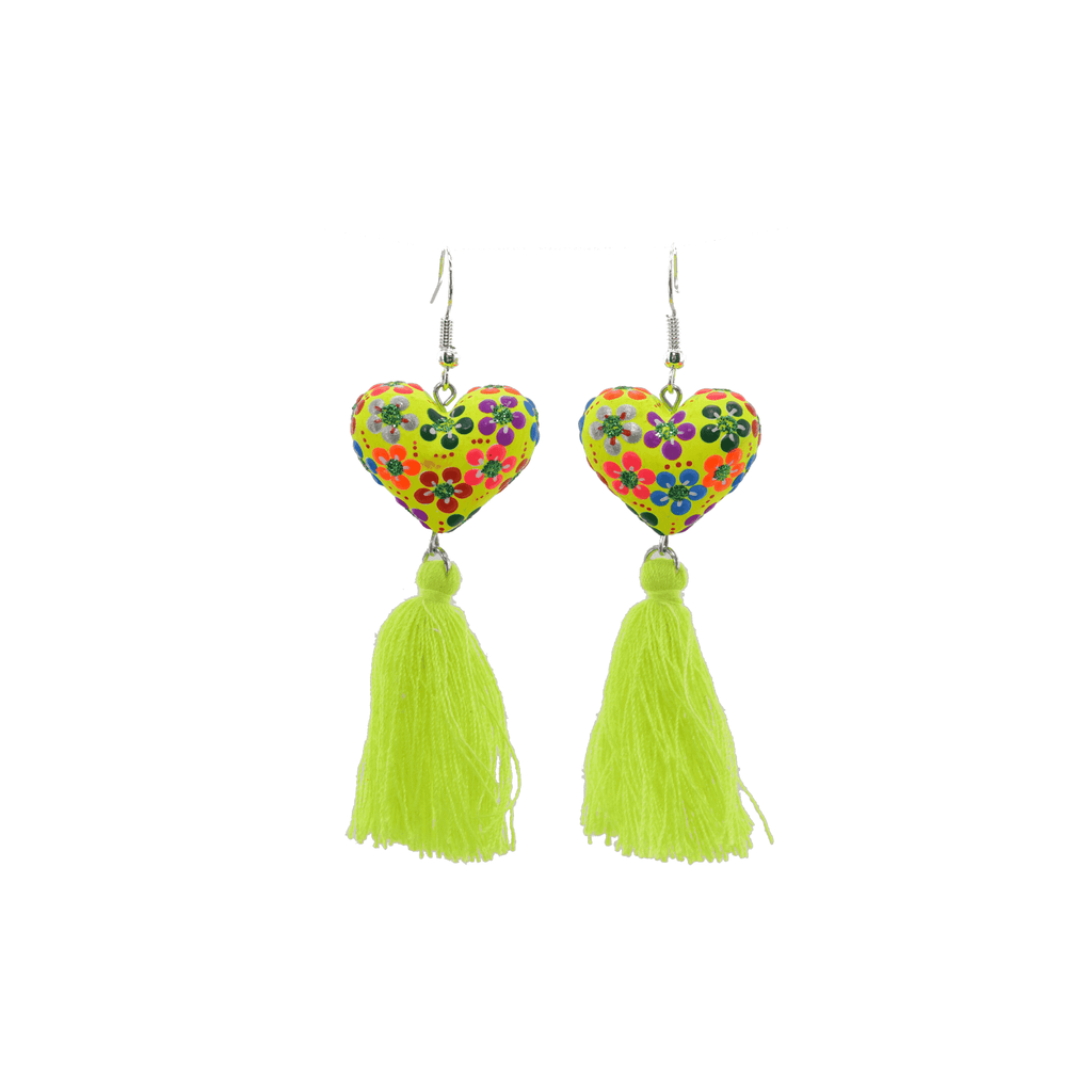 Heart to Heart Earrings in Neon Yellow - Josephine Alexander Collective
