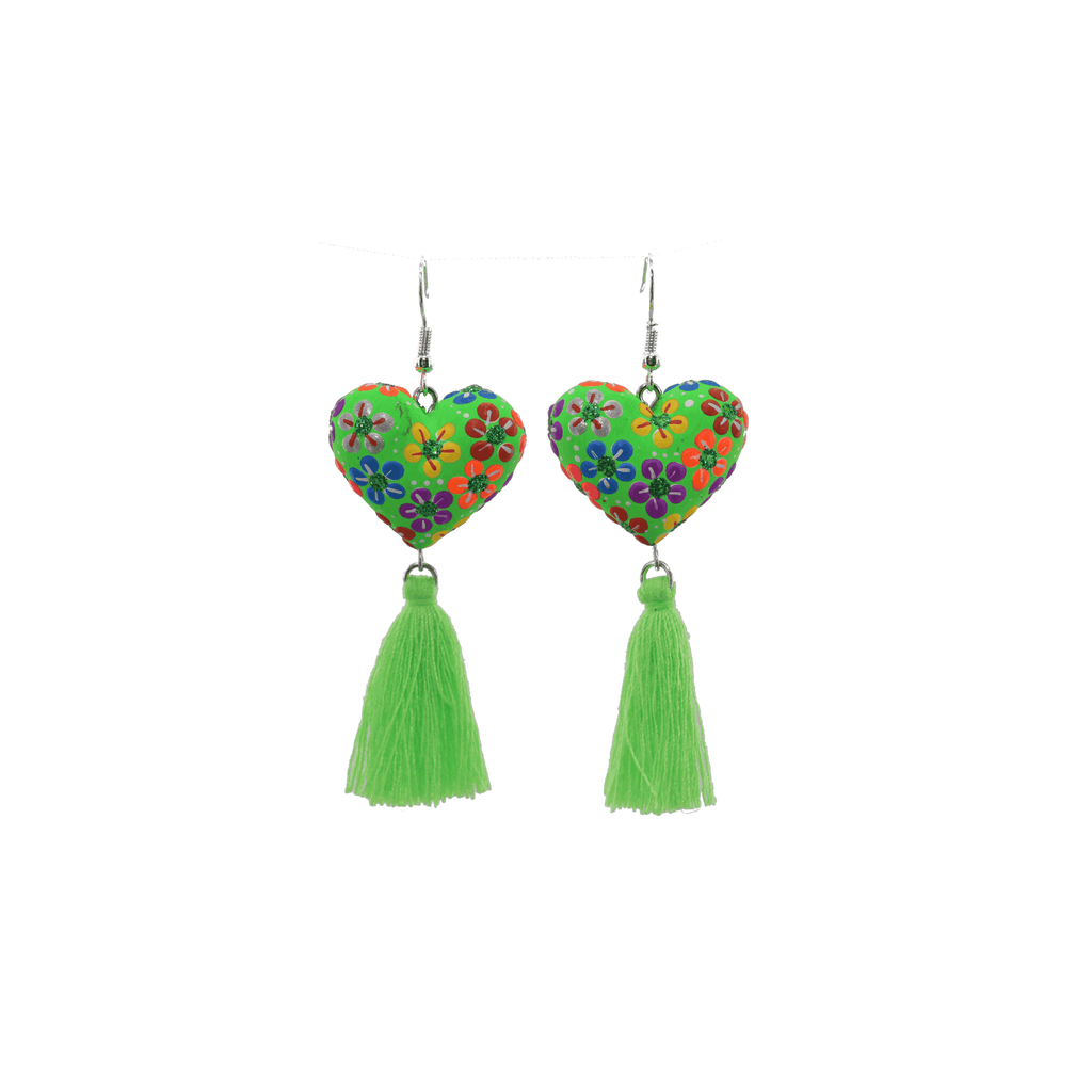 Heart to Heart Earrings in Bright Green - Josephine Alexander Collective