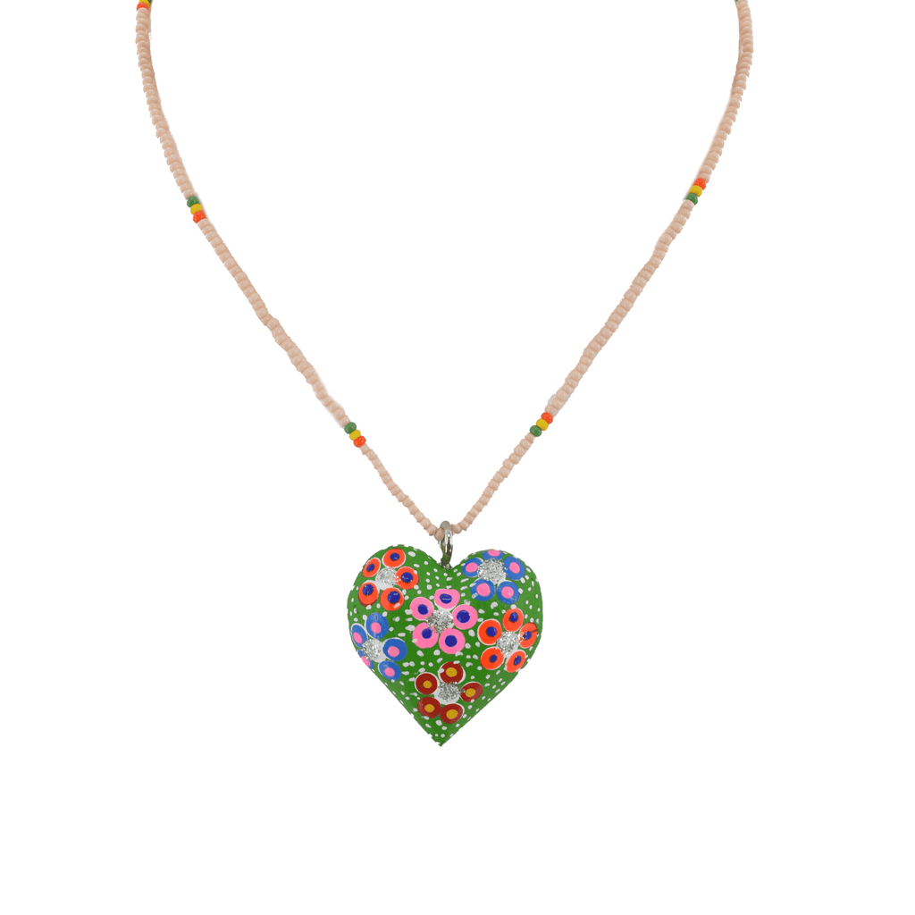 Heart to Heart Necklace in Green - Josephine Alexander Collective