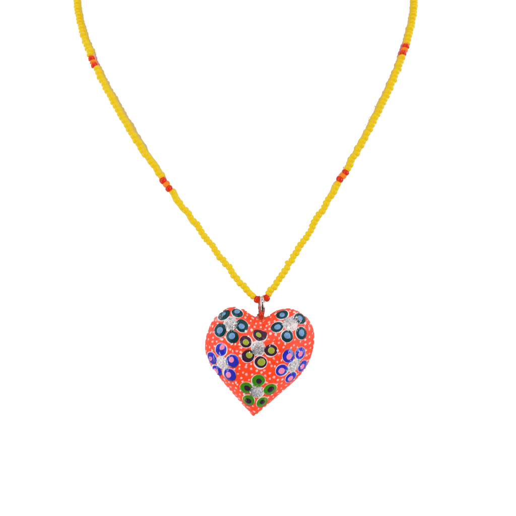 Heart to Heart Necklace in Orange and Yellow - Josephine Alexander Collective