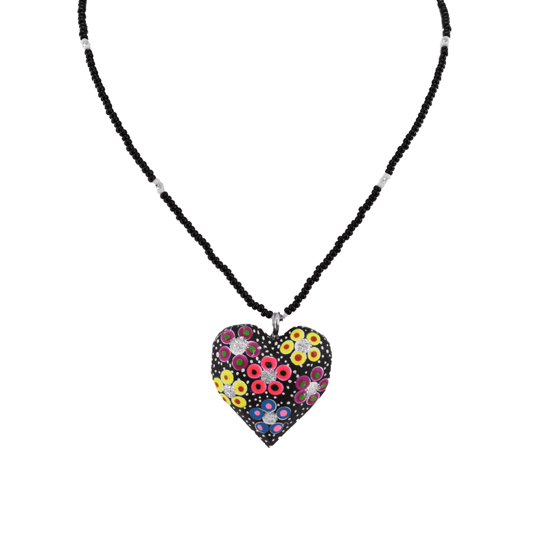 Heart to Heart Necklace in Black - Josephine Alexander Collective