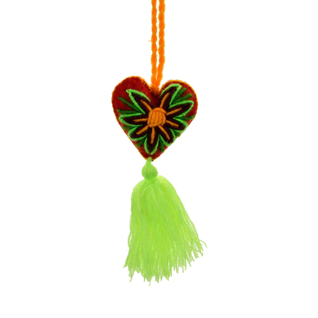 Heart Pom Tassel in Neon with Red and Yellow Heart