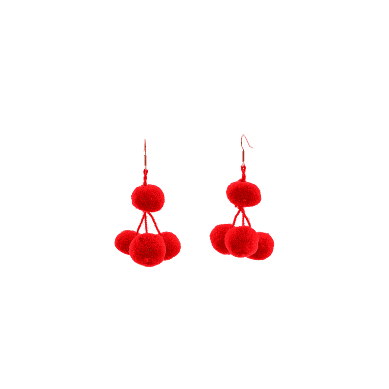 Pomponera Earrings in Watermelon